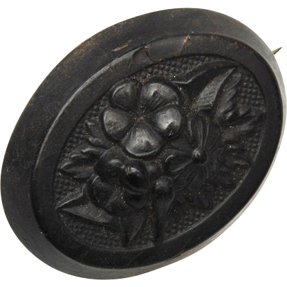 Molded Vulcanite Flower Brooch c. 1800's