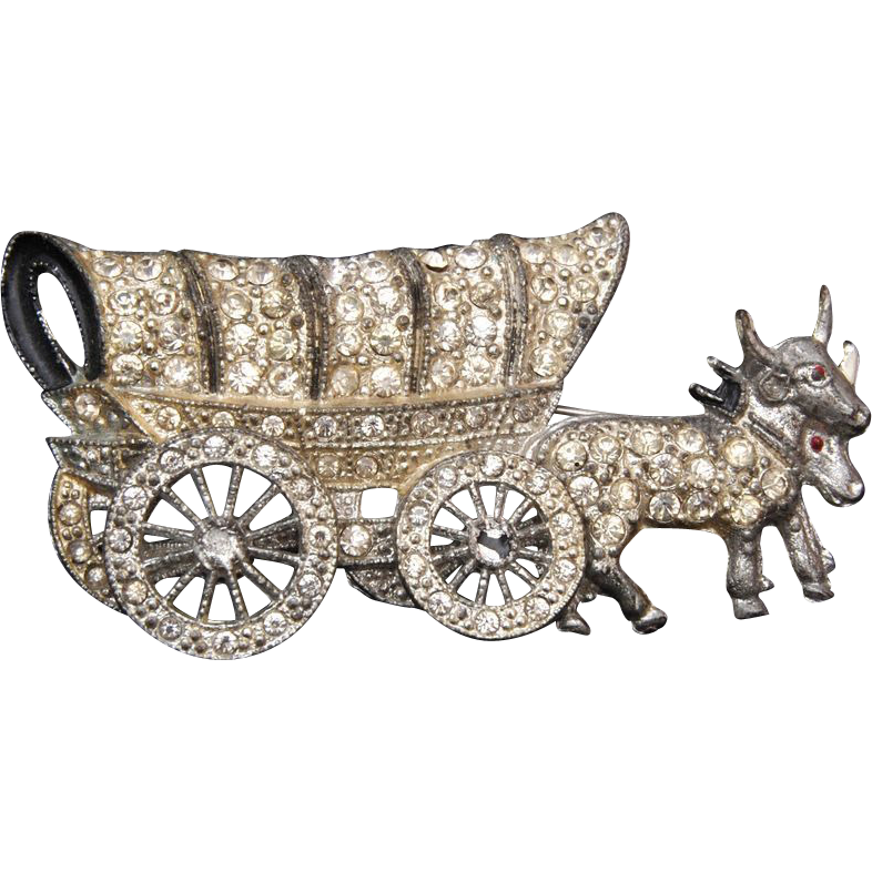 Pot Metal Covered Wagon Brooch With Movable Wheels