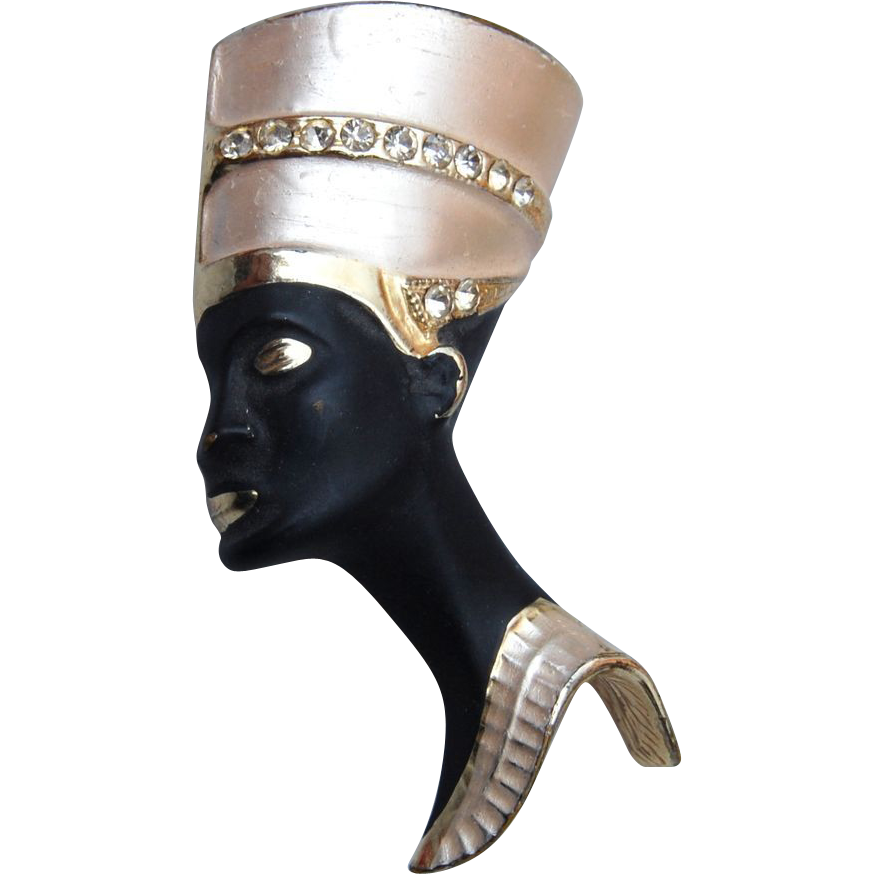 Black Woman and Gold Tone Headdress Brooch