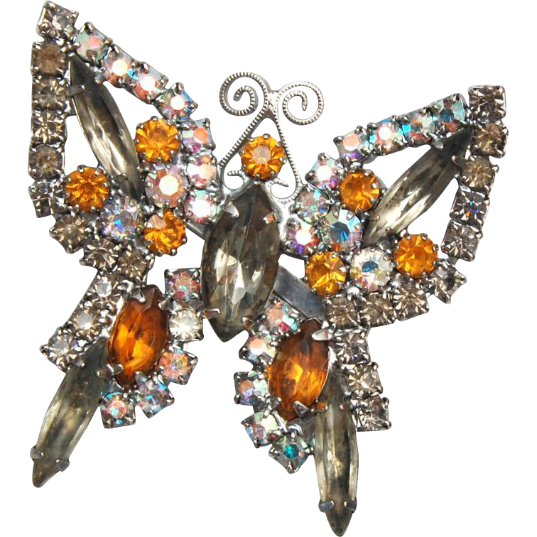 Black Diamond and Topaz Butterfly Brooch