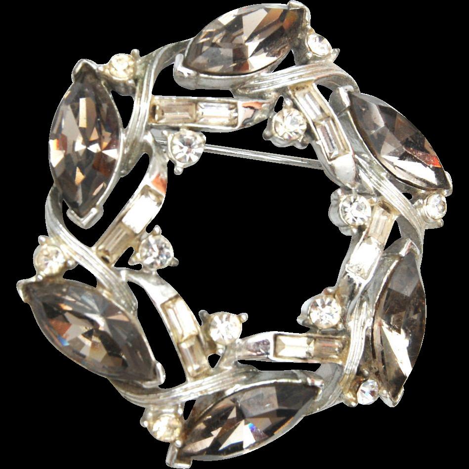 Kramer Black Diamond Rhinestone Brooch