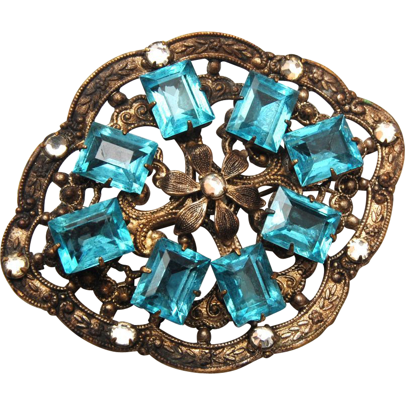Aqua Open Backed Rhinestone Brooch