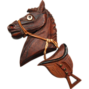 Carved Wooden Horse With Saddle and Glass Eye Brooch