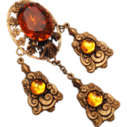 Style Metal Specialty Company 1940's Dangle Topaz Rhinestone Brooch