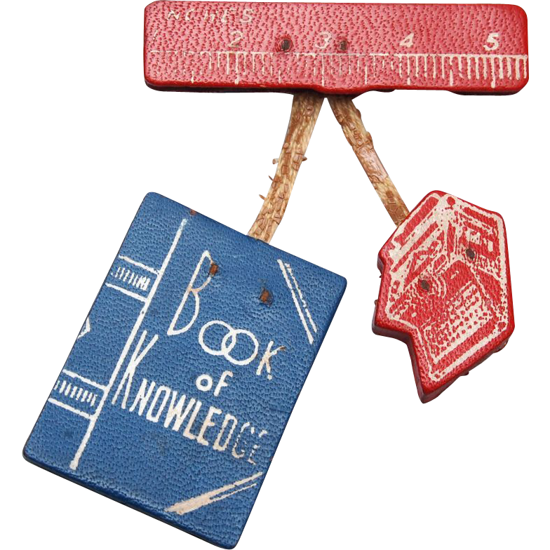 Leather Brooch – Book of Knowledge, Typewriter and Ruler