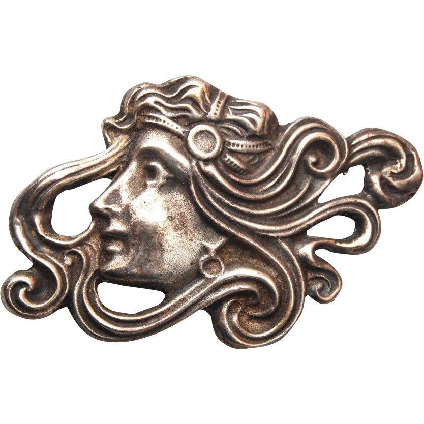 Art Nouveau Silver Woman's Head Brooch