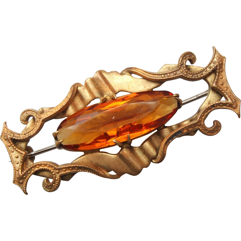 Unfoiled Open Backed Topaz Rhinestone Brooch