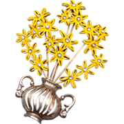 Pot Metal Flower Brooch