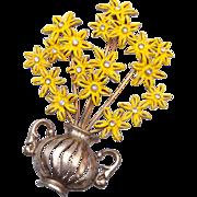 Pot Metal Flower Brooch