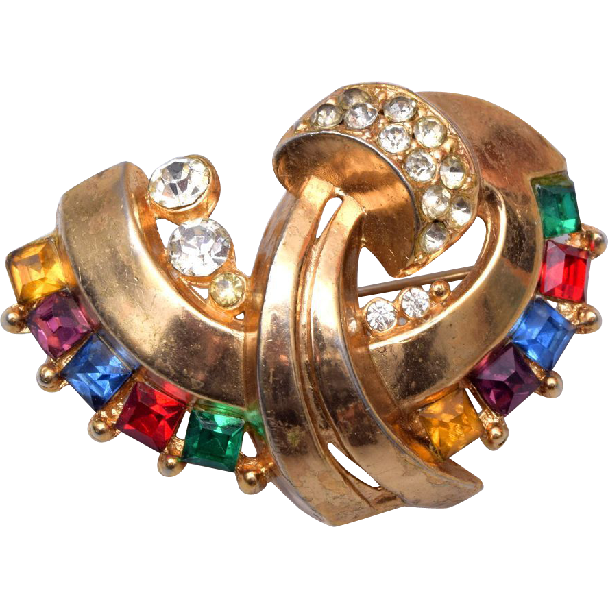 Lisner Multi Colored Rhinestone Brooch