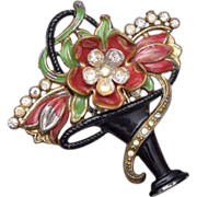 Pot Metal Vase of Flowers Brooch