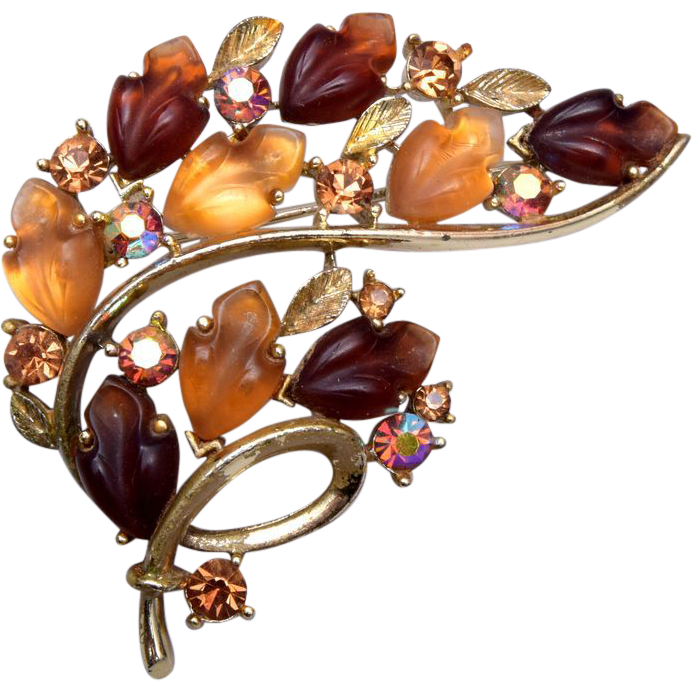 Lisner Brown and Gold Glowing Leaf Brooch
