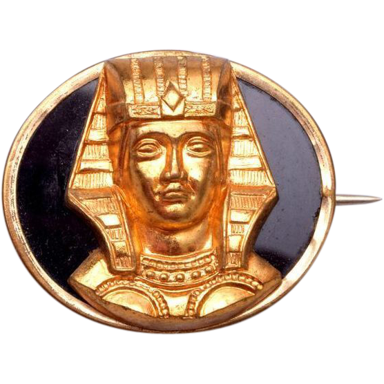 Egyptian Revival 1920's Onyx and Gold Tone Brooch