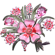 Pot Metal and Enamel Rhinestone Brooch