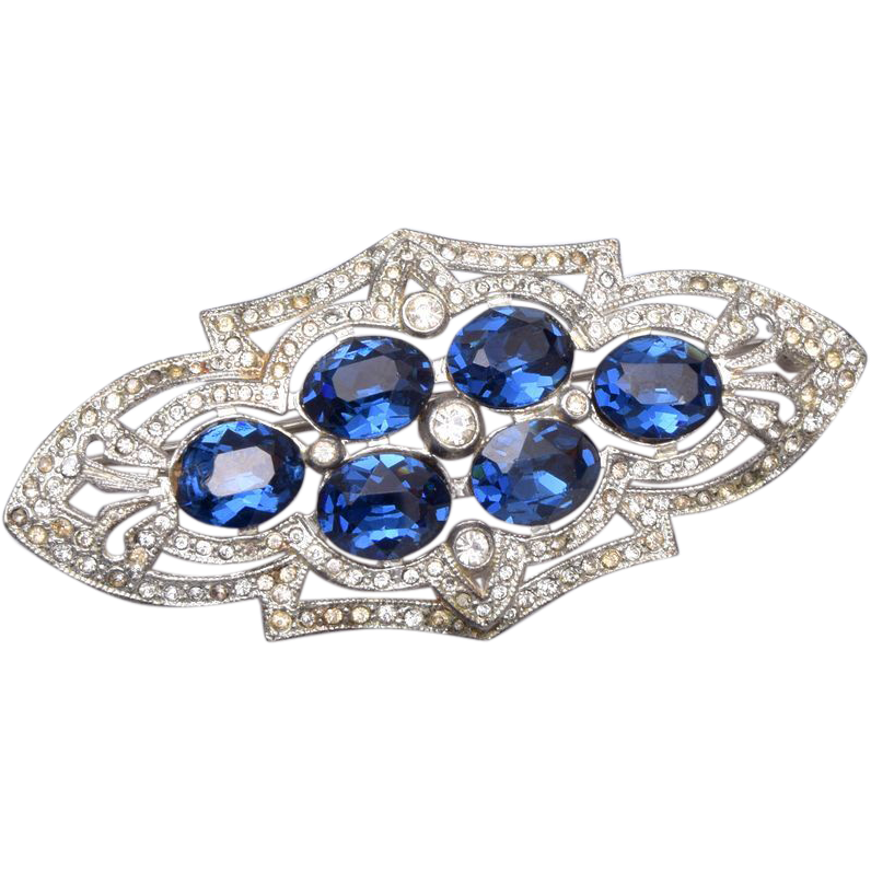 Blue Pot Metal Rhinestone Brooch