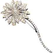 Weiss Pave' Set Rhinestone Flower Brooch