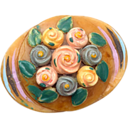 Painted Celluloid Flower Brooch
