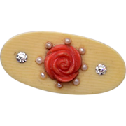 Old Celluloid Brooch With Coral Colored Flower, and Seed Pearls