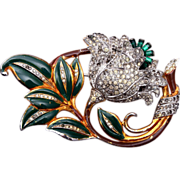 Enameled and Rhinestone Trembler Brooch
