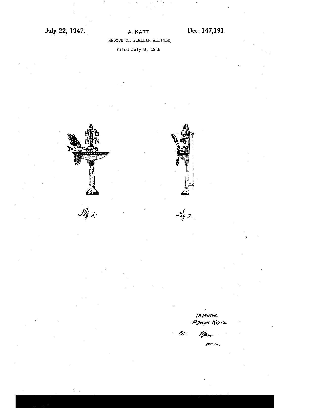 1947 coro bird bath brooch from wrightglitz on ruby lane