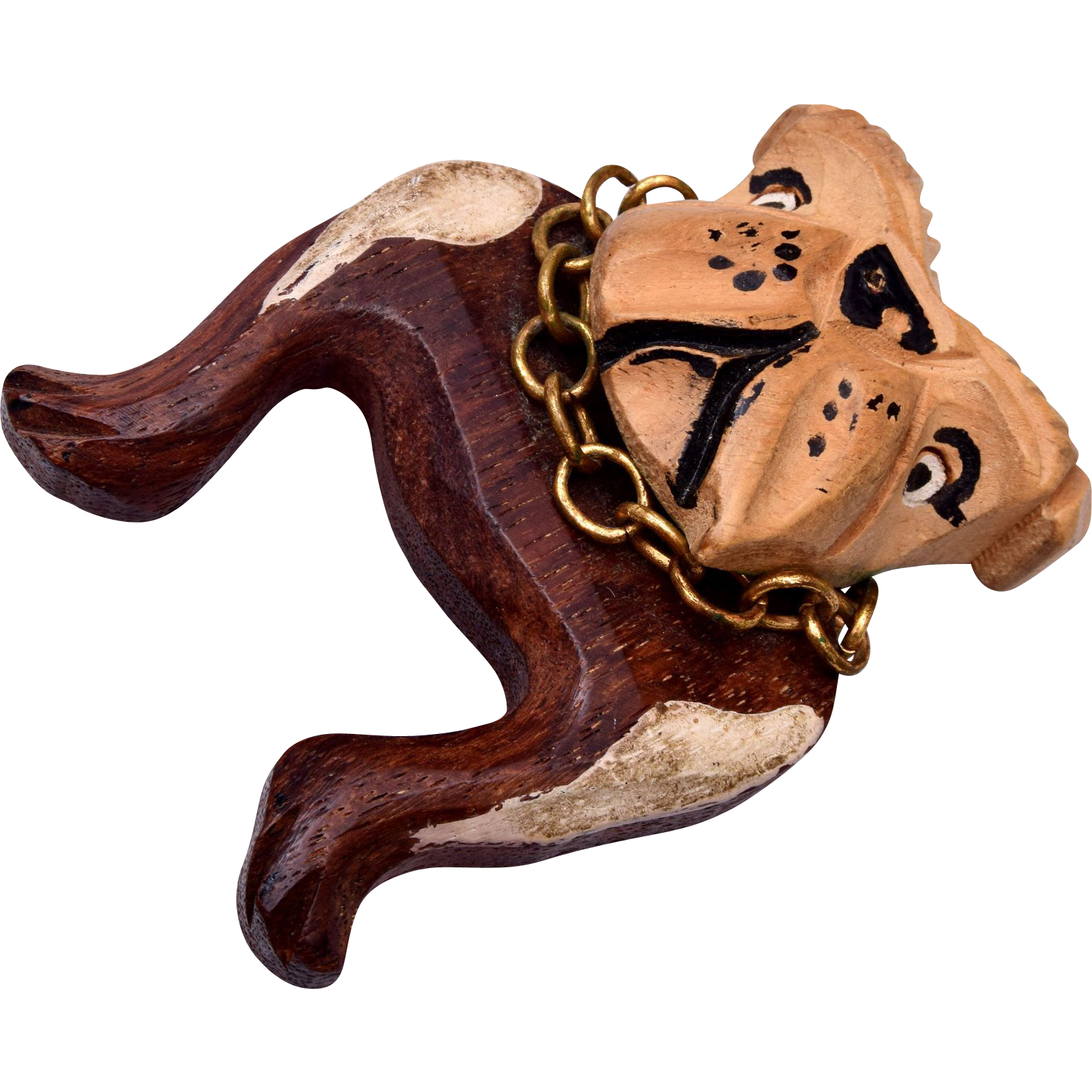 Wooden Bull Dog Brooch