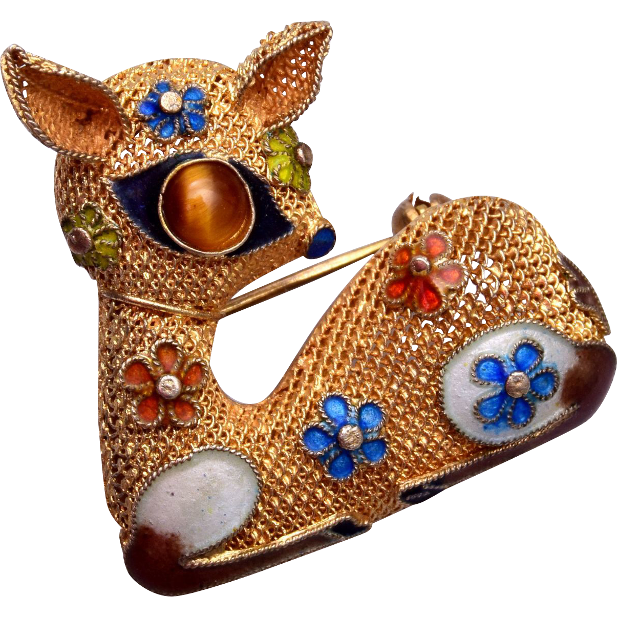 Chinese Enameled and Silver Deer Brooch