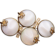 Beautiful Molded Art Deco Glass and Rhinestone Brooch