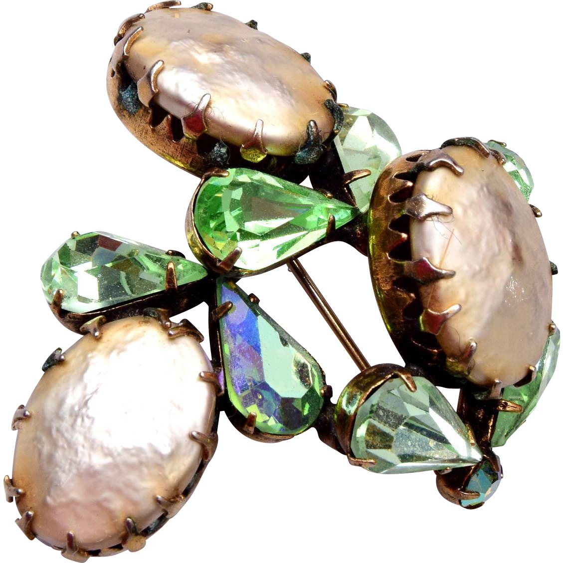Regency Green Rhinestone and Faux Pearl Brooch