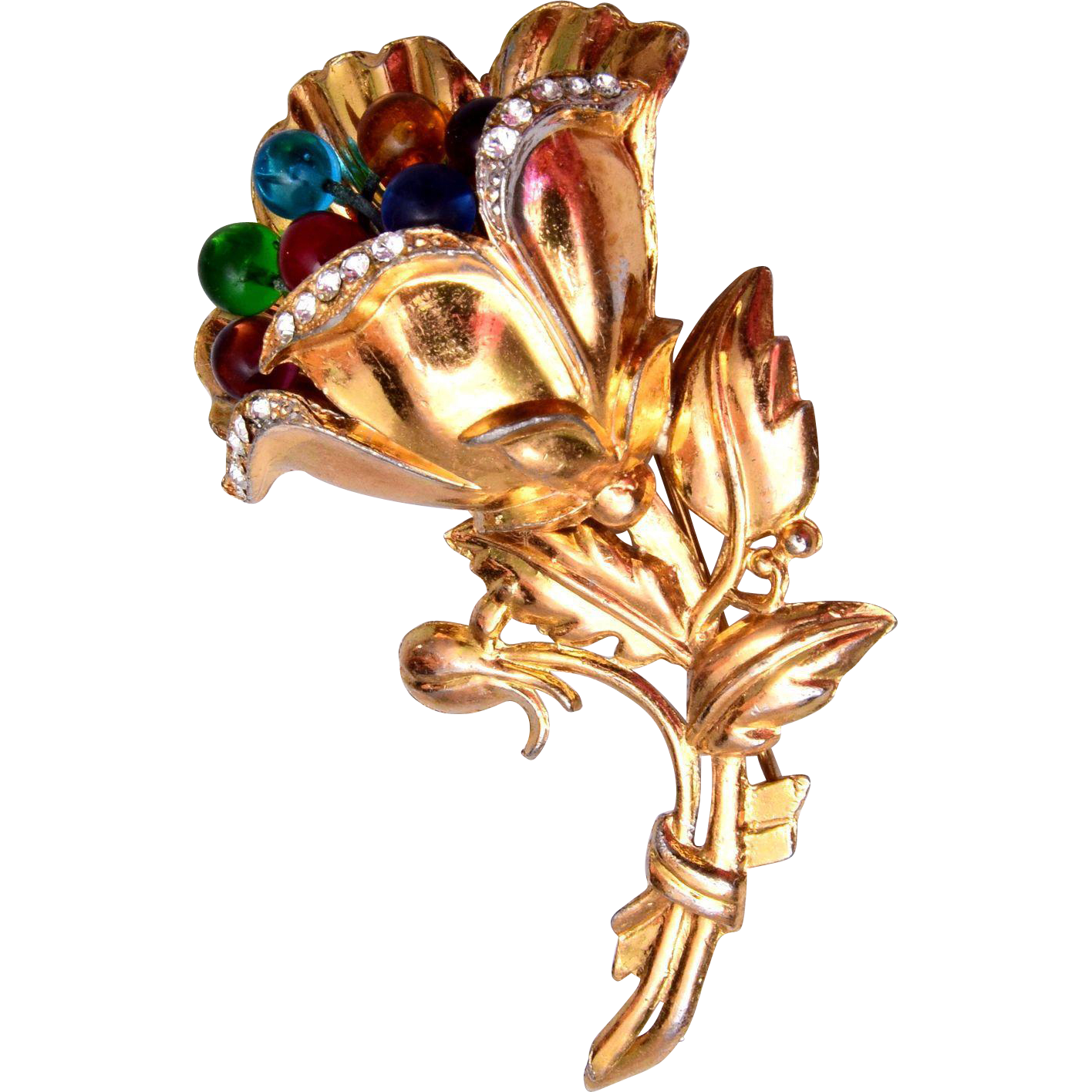 Colorful Glass Ball Flower Brooch