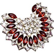 Pot Metal Brown and Clear Rhinestone Brooch