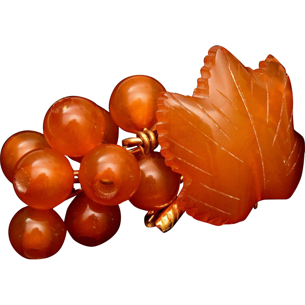 Amber Grape Leaf and Grapes Brooch
