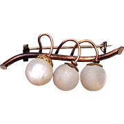 Old Gold Filled Brooch with Mother of Pearl