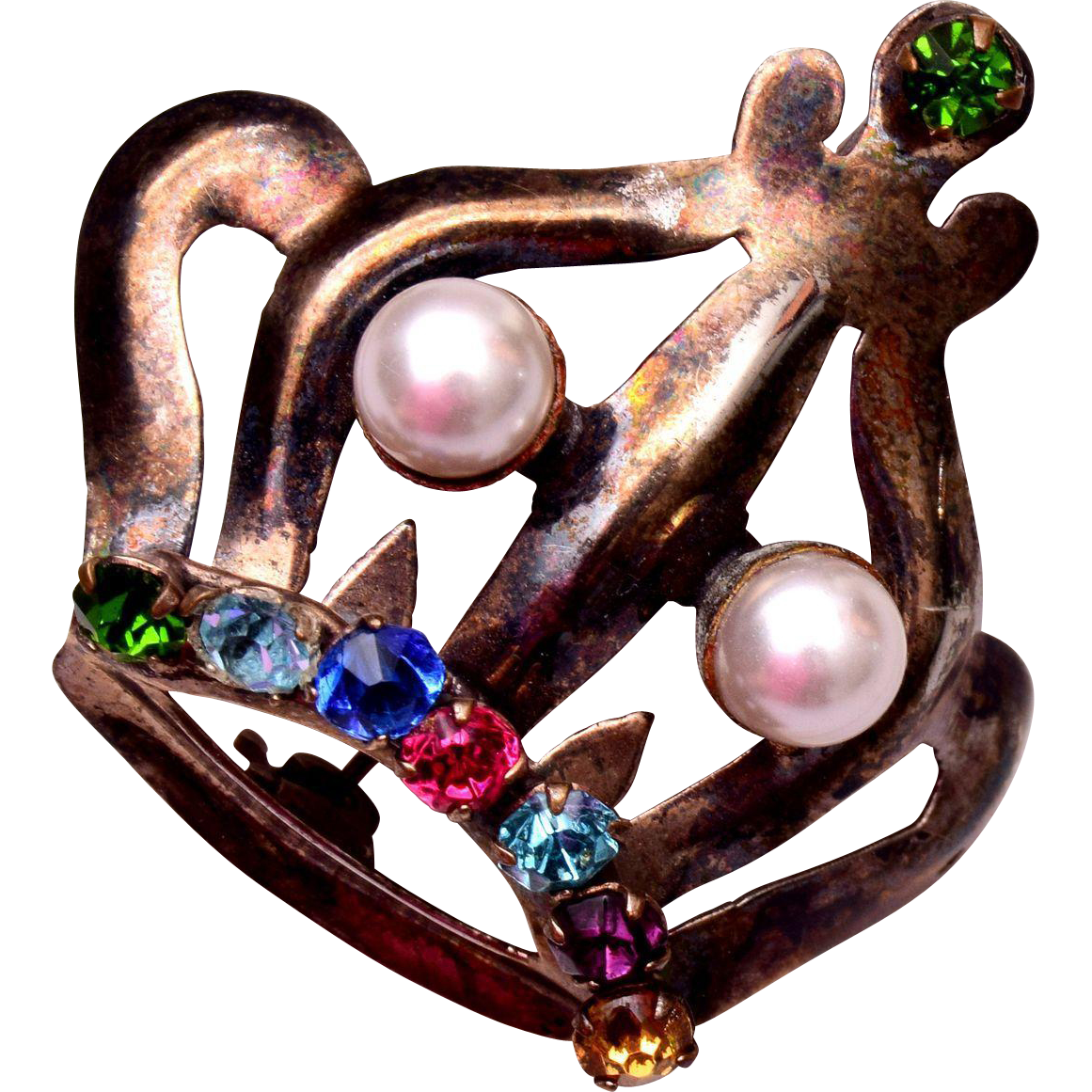 Sterling Vermeil Crown Brooch with Rhinestones and Real Pearls