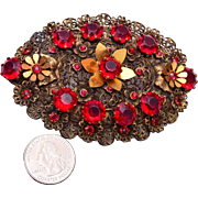 Large Red Filigree Brooch