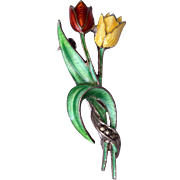 Sterling Germany Enamel Flower Brooch