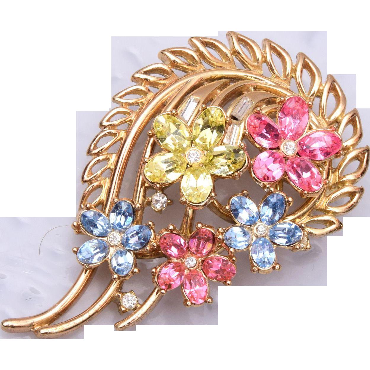 1954 Trifari Patent Pending Pastel Flower Brooch