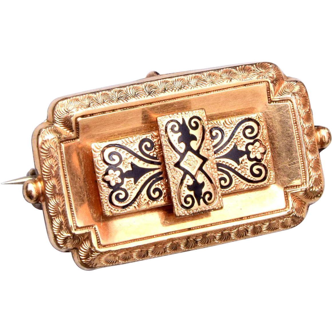 Beautiful Taille D'Epergne Gold Filled Brooch or Watch Pin