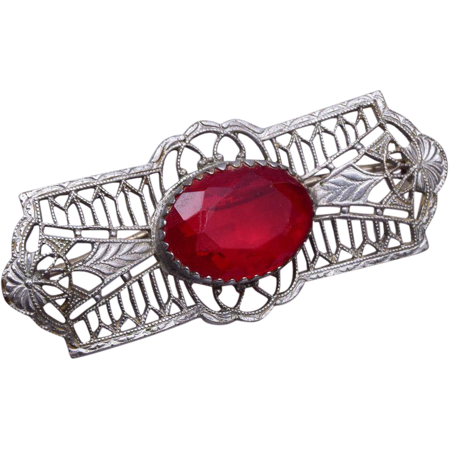 Red Rhinestone and Filigree Finding Brooch
