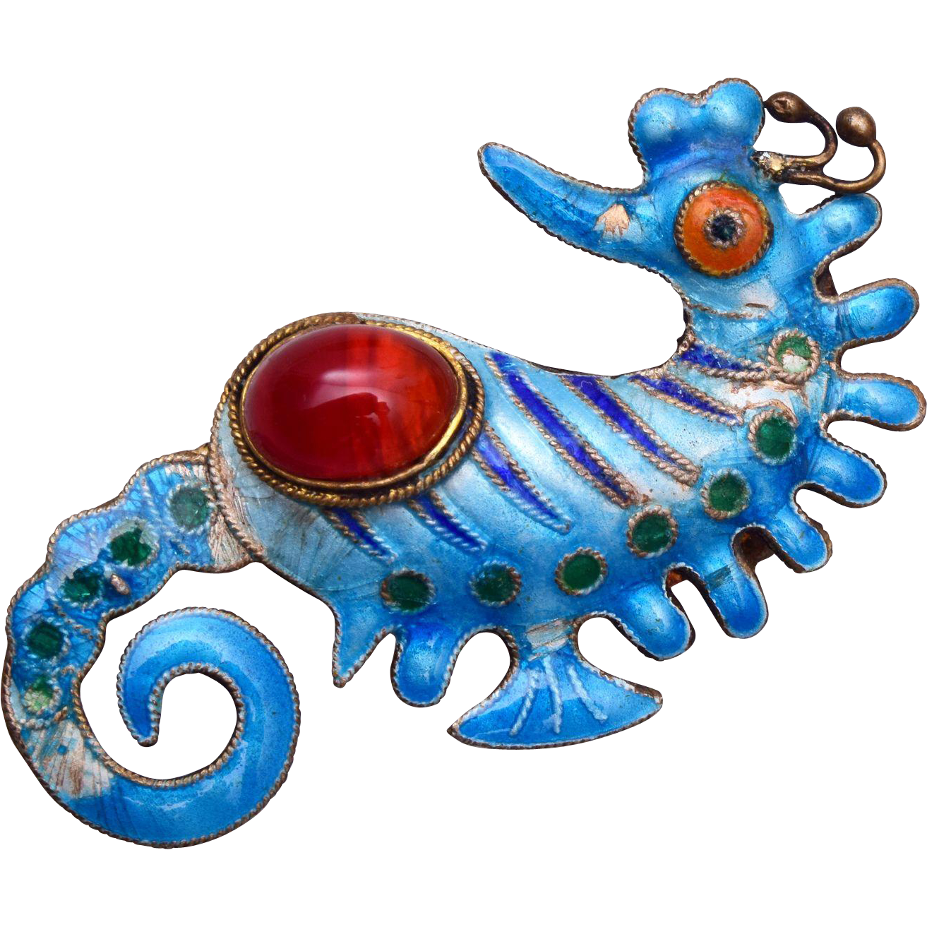 Blue Enamel and Carnelian Stone Silver Sea Horse Brooch