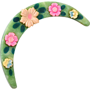 Celluloid Half Moon and Flower Brooch