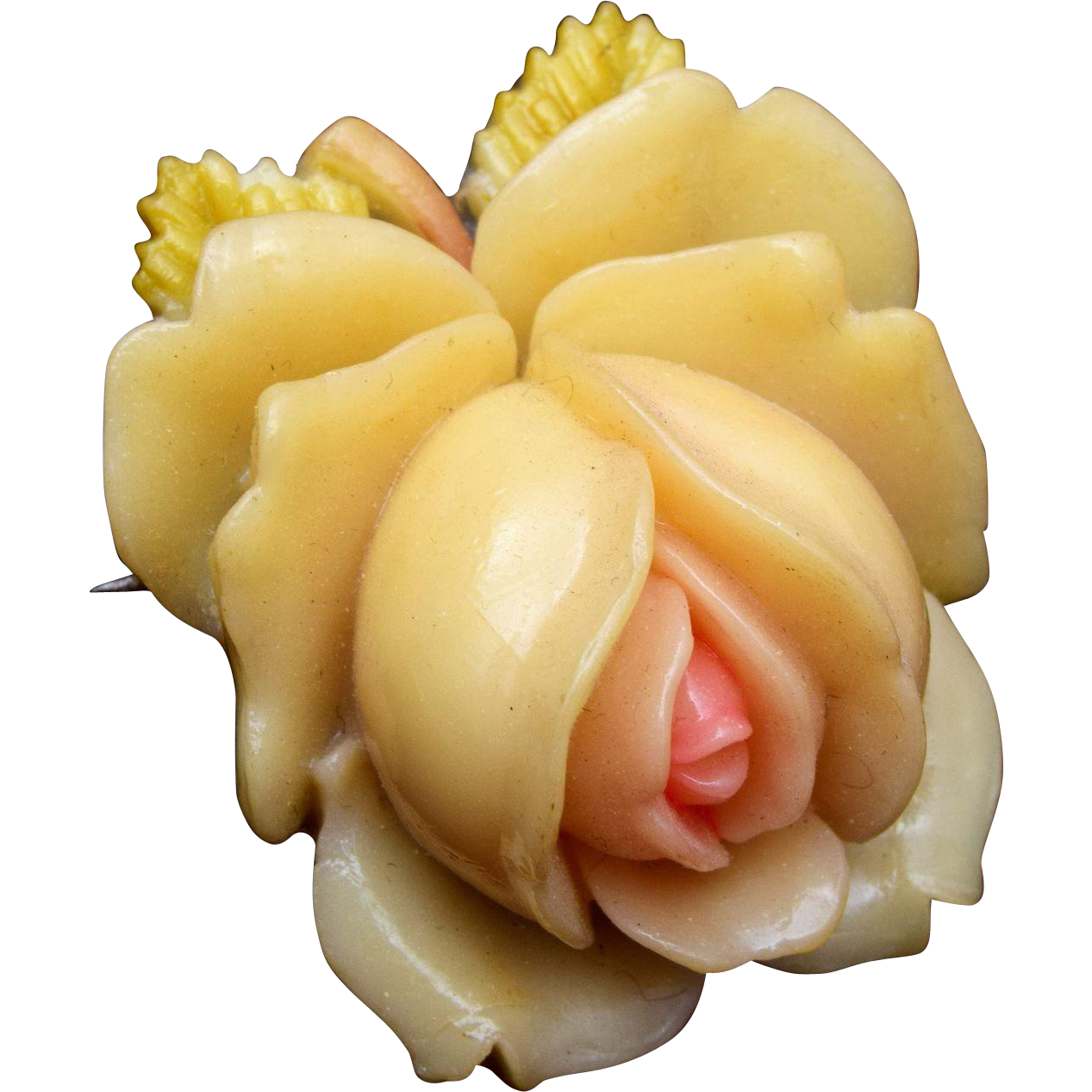 Molded Celluloid Flower Brooch