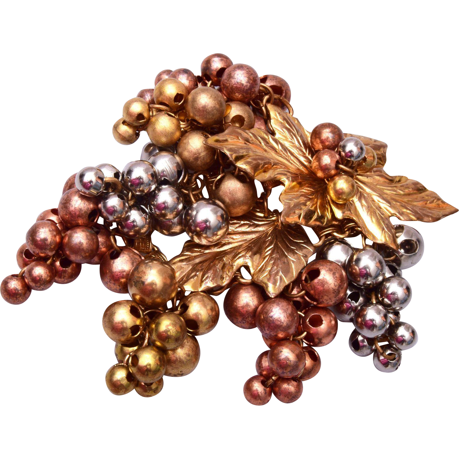 Wonderful 3 Tone Grape Cluster Brooch