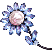 Light Blue Rhinestone and Faux Pearl Flower Brooch