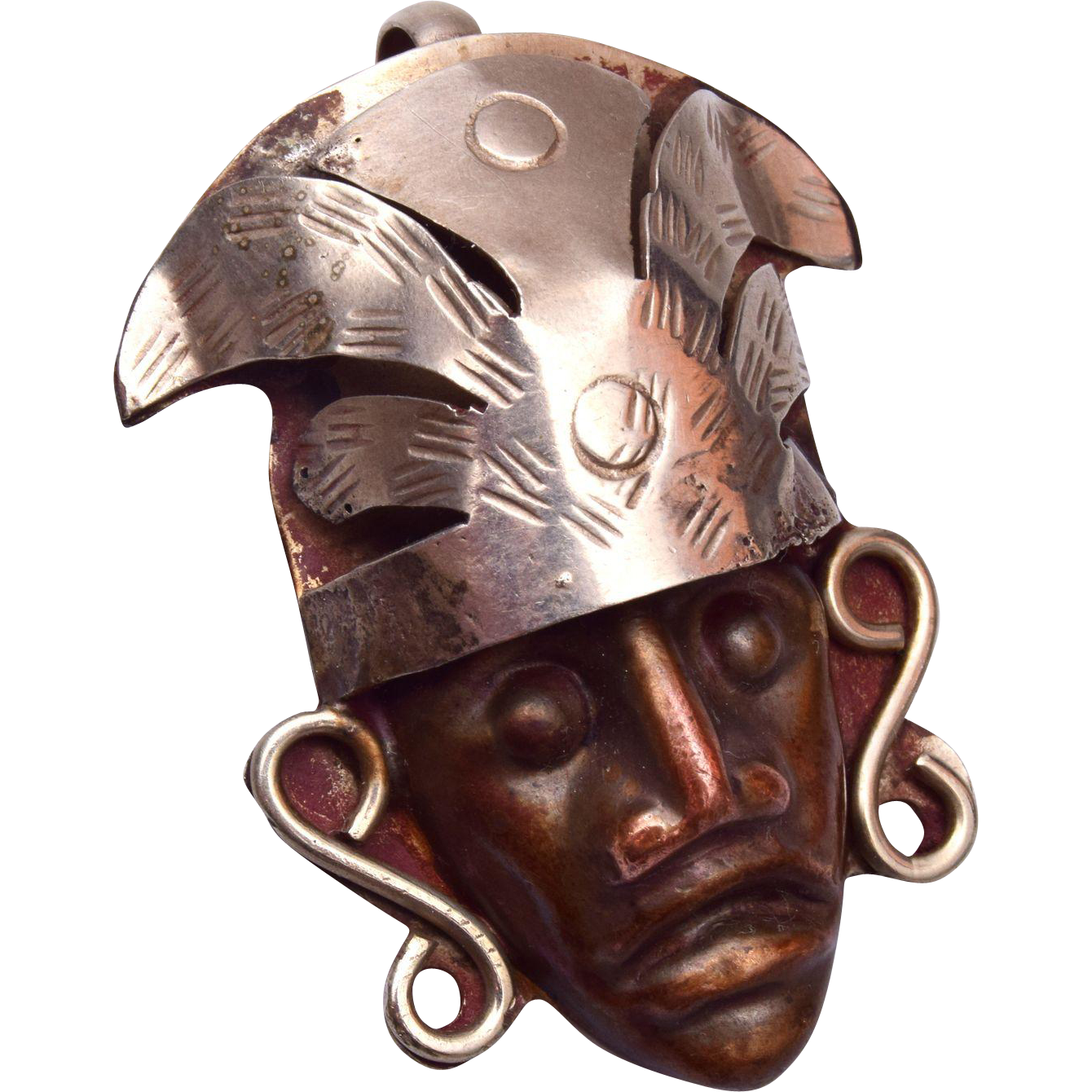 Made in Taxco Mexico Metal Mask Pendant