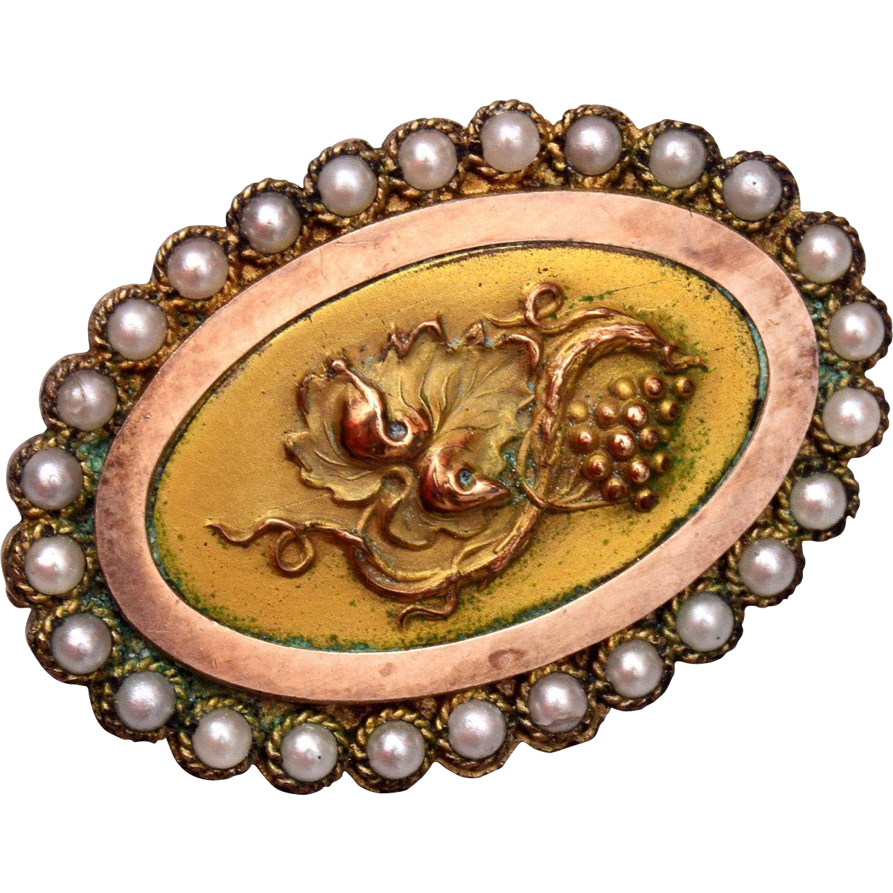 Victorian Grape Design and Seed Pearl Brooch