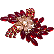 Jelly Red and Frosted Rhinestone Brooch