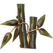 Carved Jade Bamboo Brooch
