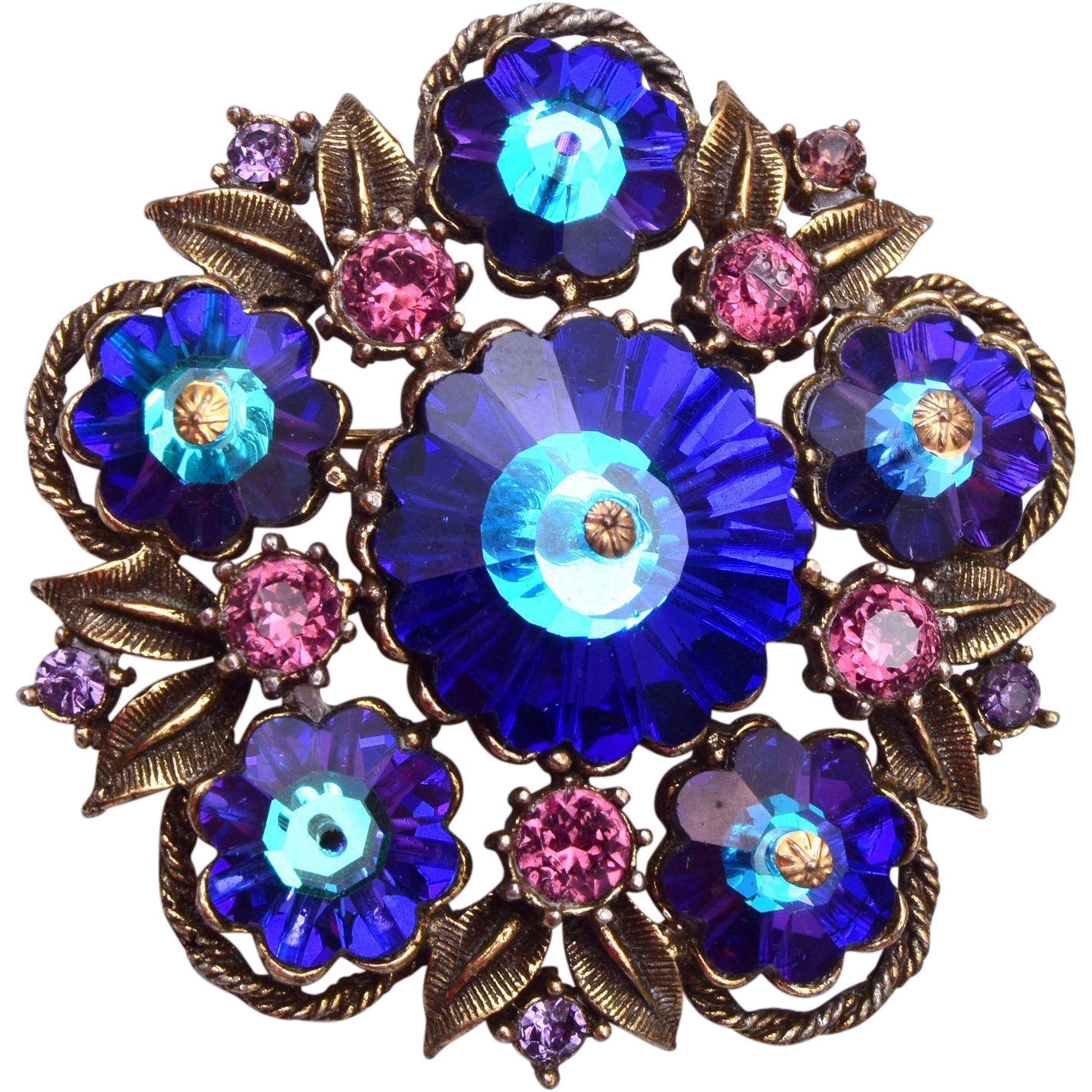 Weiss Blue Rivoli Crystal and Purple Rhinestone Brooch