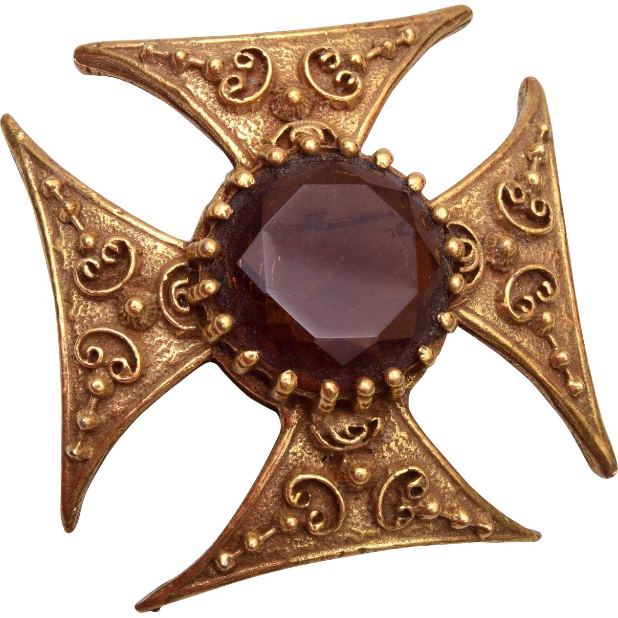 Maltese Cross With Faceted Brown Rhinestone Brooch