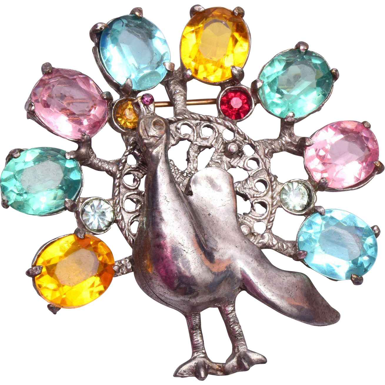 Pot Metal Peacock and Colorful Pastel Stone Brooch